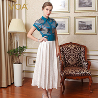 VOA Brand Silk Women Vintage Dresses Special Design Fake Two Pieces Draped Ankle Length Print Short Turn Down Collar A7619