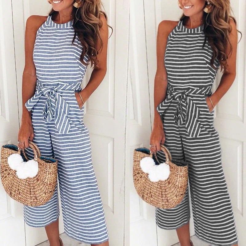 Summer Women Halter Casual Striped Printed Belt Jumpsuits One Piece Jumpsuit Wide Leg Jumpsuit Slim Sleeveless Combinaison Femme