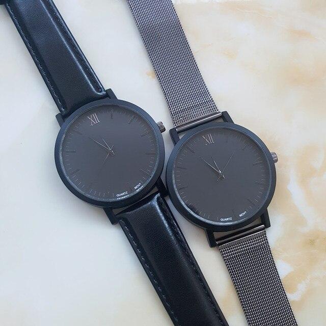 New Roman Dial Men Watch Elegant Pure Black Leather Watch,British Style Three Wa