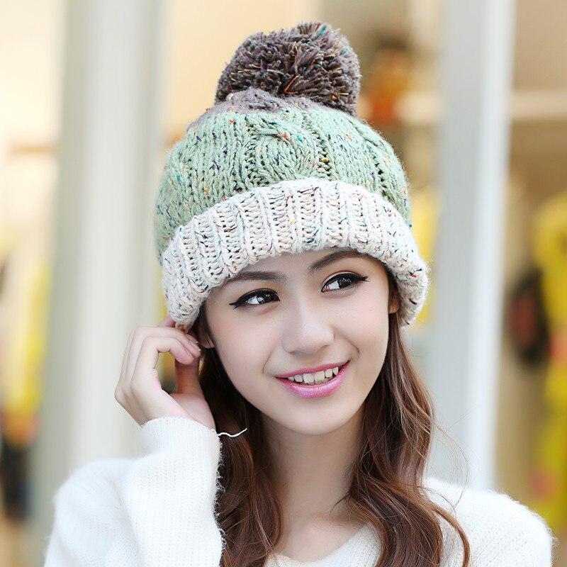 BomHCS Women Winer Thick Warm Knitting Hat Lady Girl Lovely Crochet Baggy Beanie Cap women lady fashion warm winter crochet knitting hat girl baggy beanie hat ski cap 63
