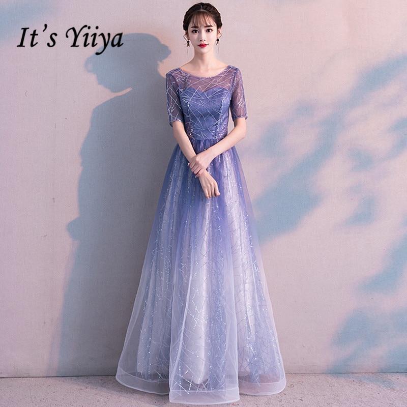 It's YiiYa Evening Dress Gradient Blue Color Elegant Party Gowns Women A-line Floor Length Short Sleeve Formal Dresses  E048