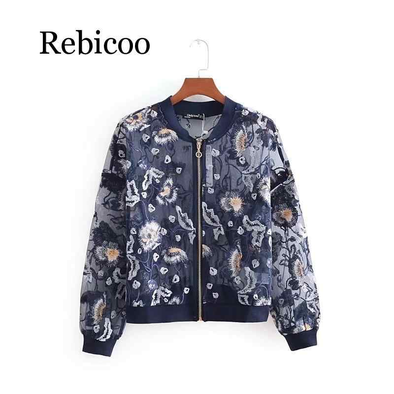 Новинка, женская летняя сексуальная легкая куртка-бомбер с цветочной вышивкой, пальто, оптовая продажа