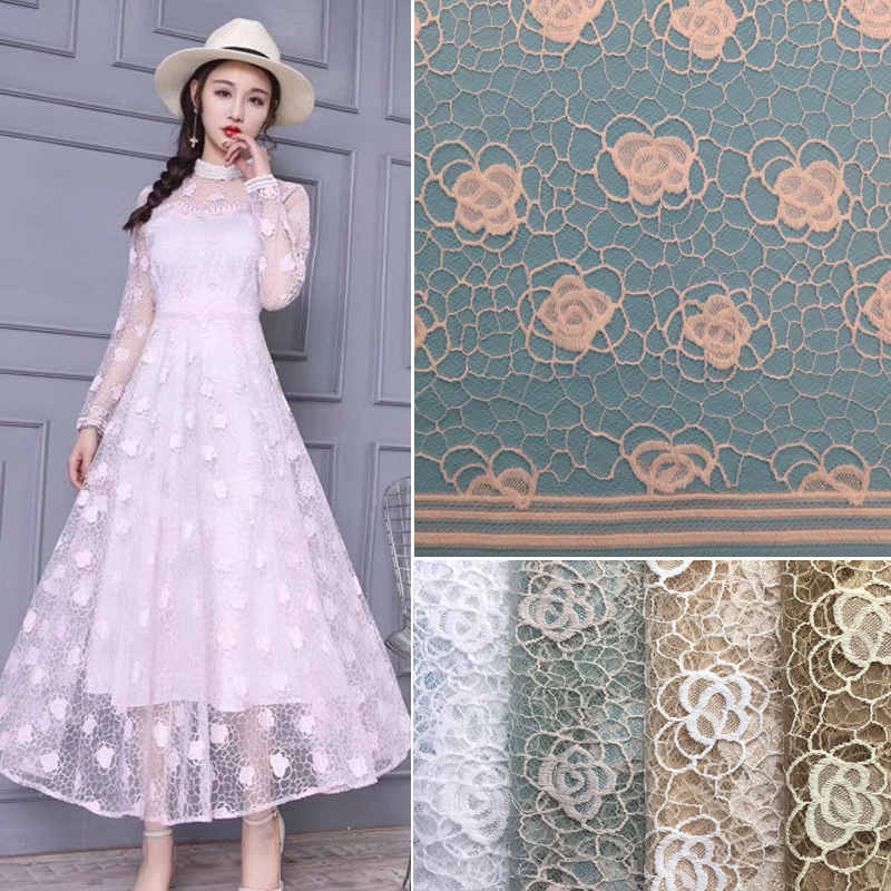 150cm Width 2018 clothing lace fabric Fashion women's dress lace fabric Floral Embroidery DIY Clothing Accessories Embossed lace