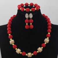 Simple Single Row Artificial Coral Necklace Earrings Bracelet Set Gold Jewelry Sets Red 2017 Free Shipping CNR619