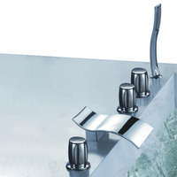 Curved Waterfall Bathtub Faucet Bathroom Bath Tub Mixer Taps With Hand Shower Head 5 Pieces Set