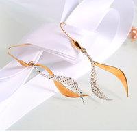 Hot Sale 18K Gold Charm Women S Feather Shape Eardrop Dangle Earrings Beautiful Classic Fashion Jewelry