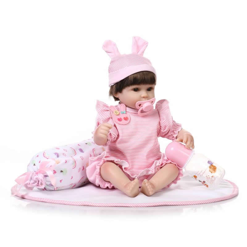 ФОТО Real Life Looking Baby Dolls 17 Inch Soft Silicone Realistic Reborn Babies That Look Real With Stripped Clothes Kids Playmate