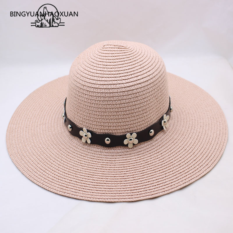 BINGYUANHAOXUAN Summer Womens Wide Angle UV Protection From The Sun Hat Tourism Beach Straw Hat Pearl Belt Caps Lady