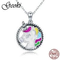 e38f2b2ae298 Geoki 925 Sterling Silver Cute Colorful Enamel Unicorn Shaped Pendant  Necklace For Girls Small Animal Like