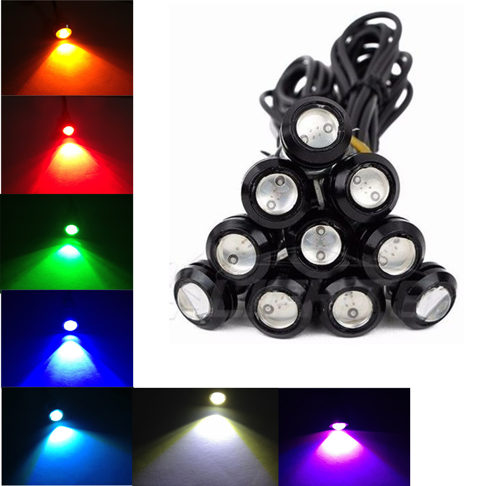 10X 23MM 9W Eagle Eye Motor Car LED Daytime Running DRL Tail Backup Bulbs Yellow Amber Pink Green Blue White Red 6w high power led larger lens car led eagle eye daytime running drl light tail light backup rear lamp white green blue red color