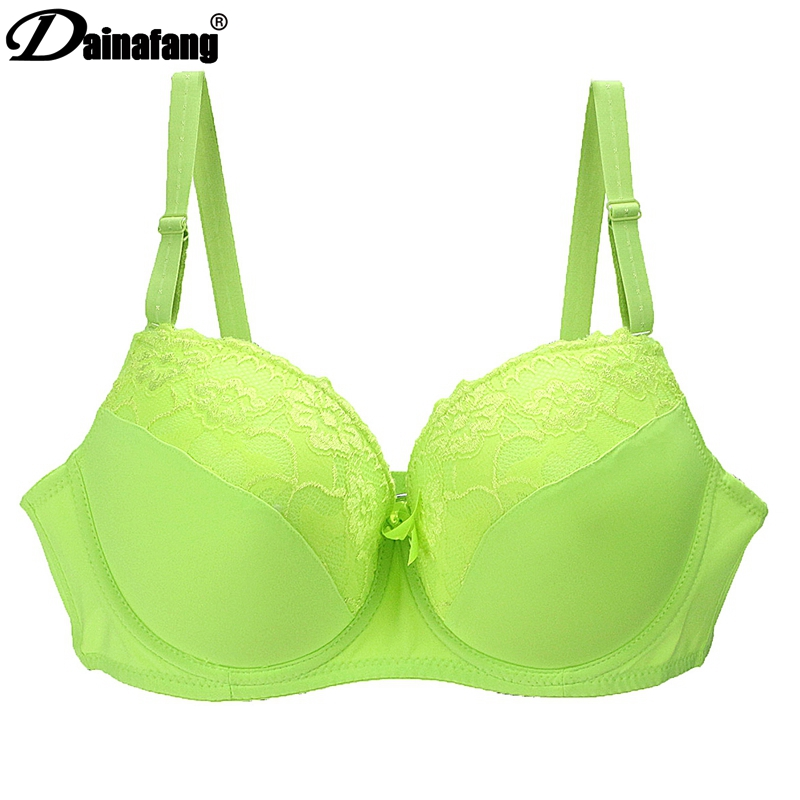 DAINAFANG BRAND Women Push Up Bra Sexy Deep V  Embroidery Lace Decorative Lingerie High Cotton Ployester Bras For Women 081