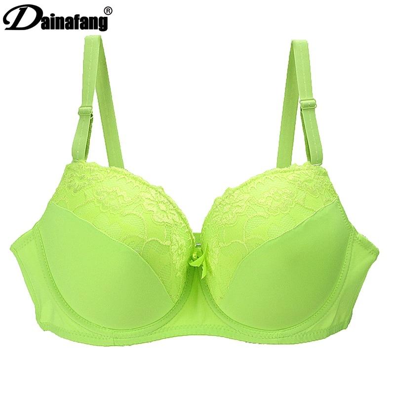 DAINAFANG MÄRKE Kvinnor Push Up BH Sexig Deep V Broderi Spets Dekorativ Underkläder Hög bomull Ployester BH för kvinnor 081