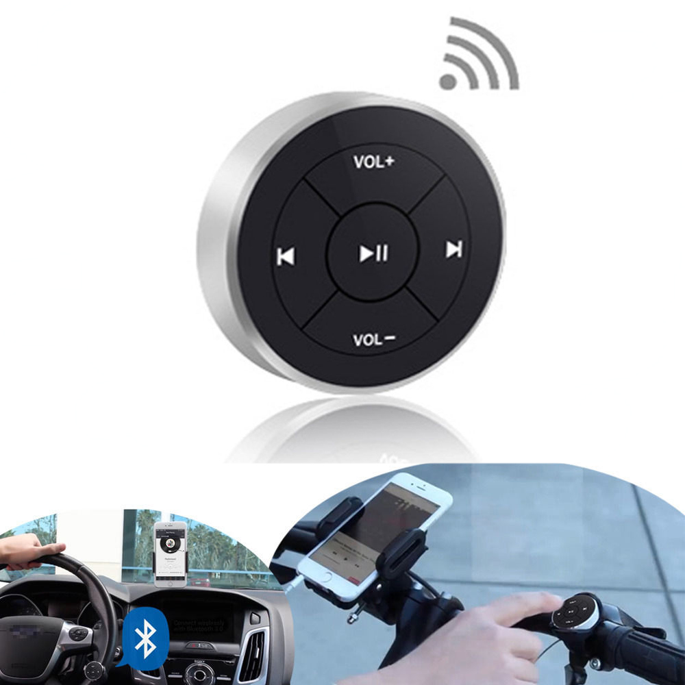 Hot Wireless Bluetooth Remote Control Media Button for Car Steering Wheel Motorcycle Bike Handlebar for iPhone 5 6 7 for Samsung dongxin mercedes benz sl65 speed remote control steering wheel 1 18 car drift charge black