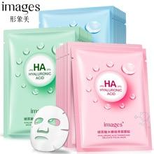 Images 5Pcs Hyaluronic acid Facial Mask Moisturizing Hydrating Skin Care Oil Control Shrink Pore Anti aging wrinkle