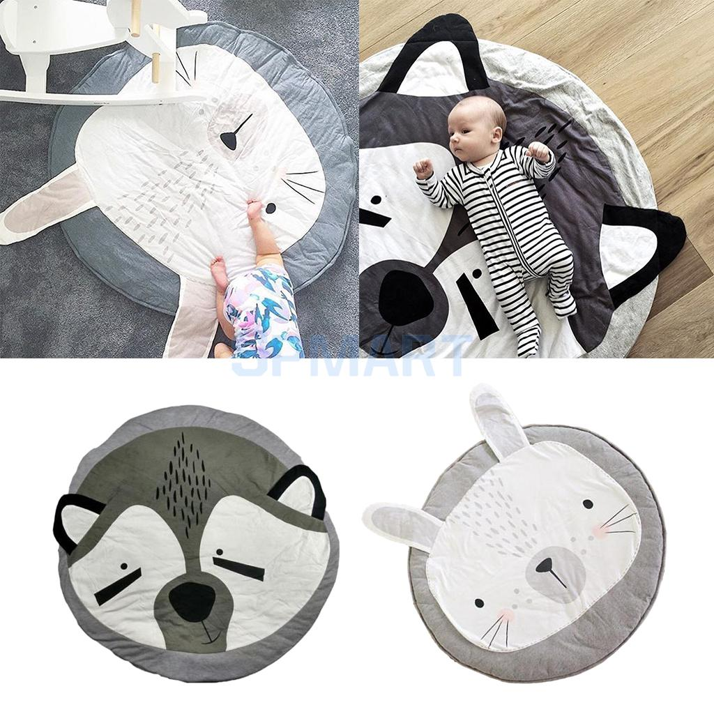 Set of 2, Kids Baby Infant Cartoon Fox and Rabbit Animal Game Play Mat Crawling Pad Carpet, Dia.95cm
