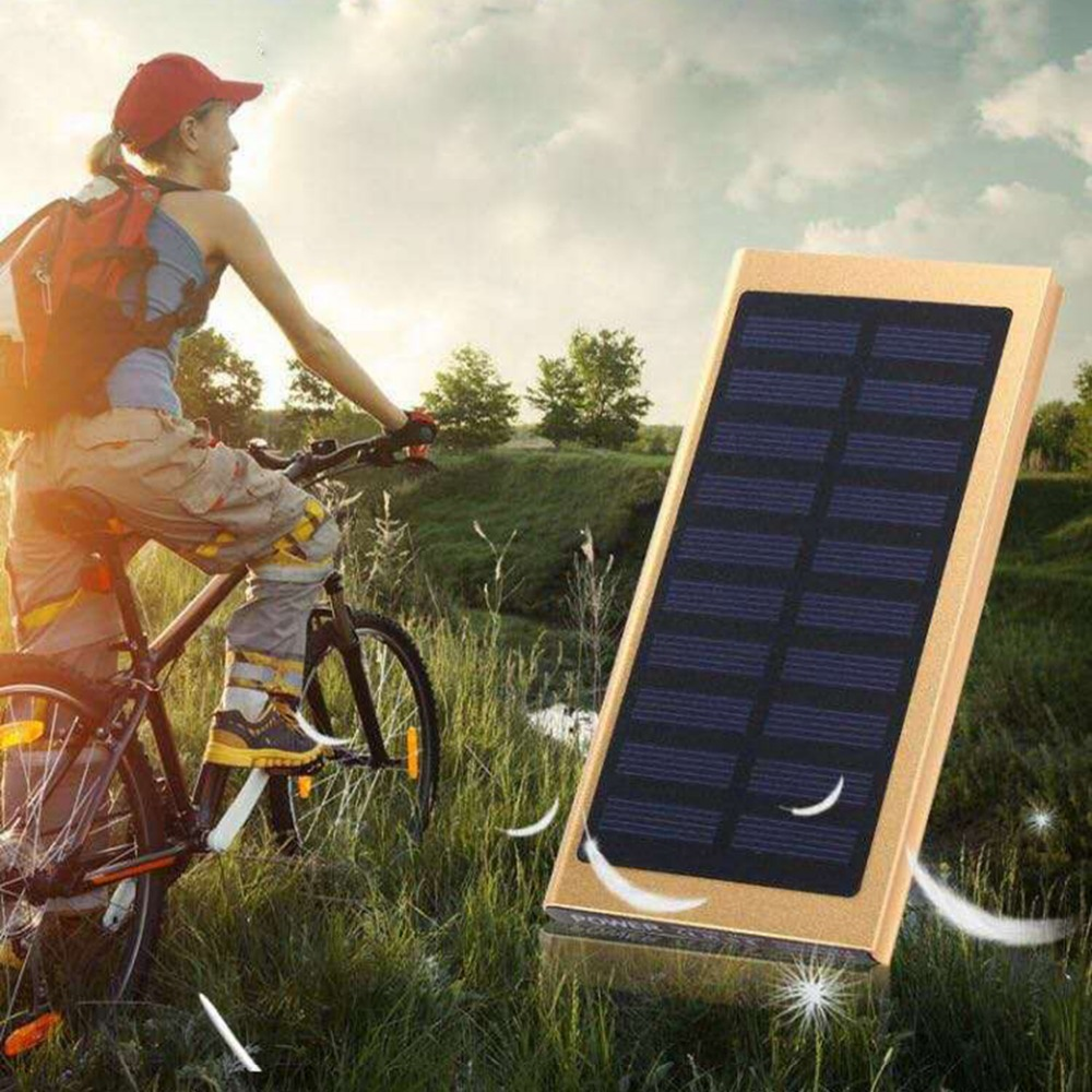 Solar Charge 20000mah Poverbank Power Bank Dual USB Charging External Battery Poverbank For Xiaomi MI iPhone 8 Samsung(China)
