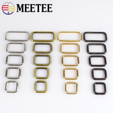 5pcs Meetee Rectangle Metal D Ring Webbing Belt Ribbon Buckles Shoes Bag Clips Buckle Strap Adjuster Accessories F4-5
