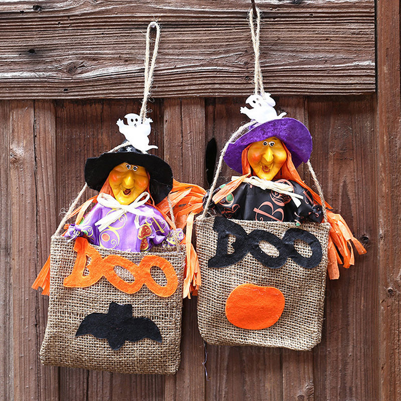 HALLOWEEN TOTE BAGS - Childrens Kids Gift Party Sweets Candy Linen Bag