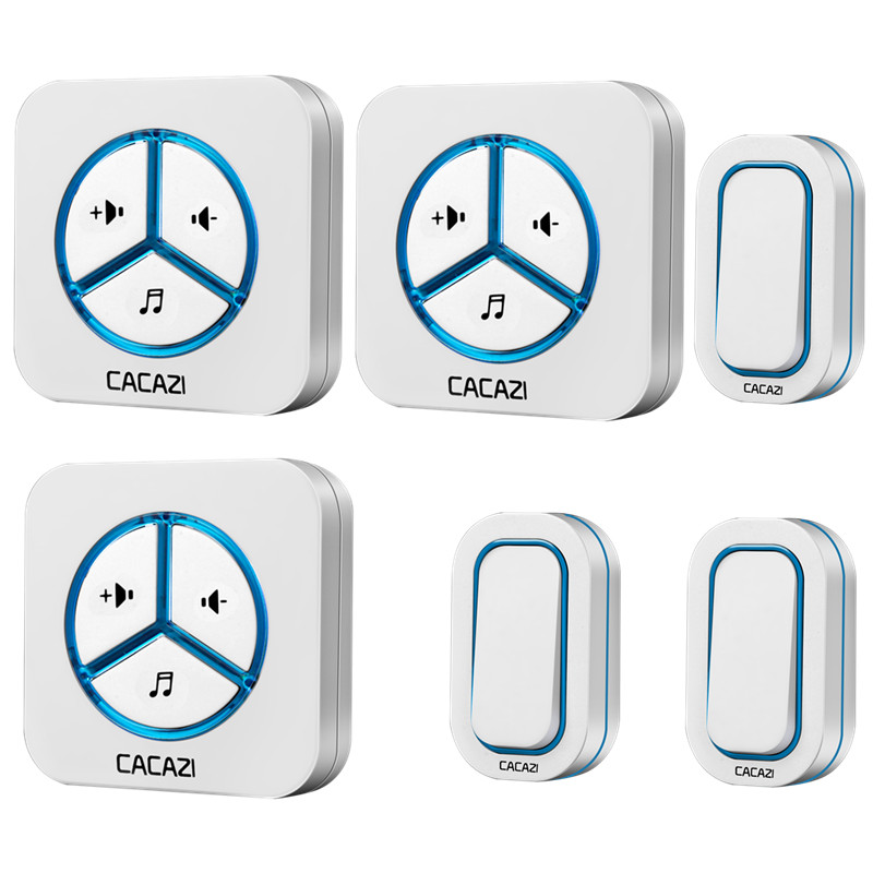 CACAZI doorbell 280M remote AC 110-220V US/EU/UK Plug Wireless Door bell 48 rings door chime 3 waterproof buttons+3 receivers us 3 12