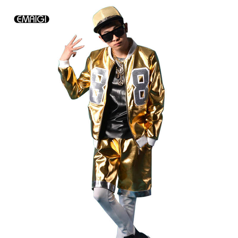 561c65468a NEW Male singer DJ jacket men nightclubs costumes male street hip-hop gold  leather jacket
