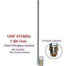 433 MHz omni fiberglas antenne UHF400 480MHz basis station antenne radio antenne N Weibliche stecker außen dach monitor antenne