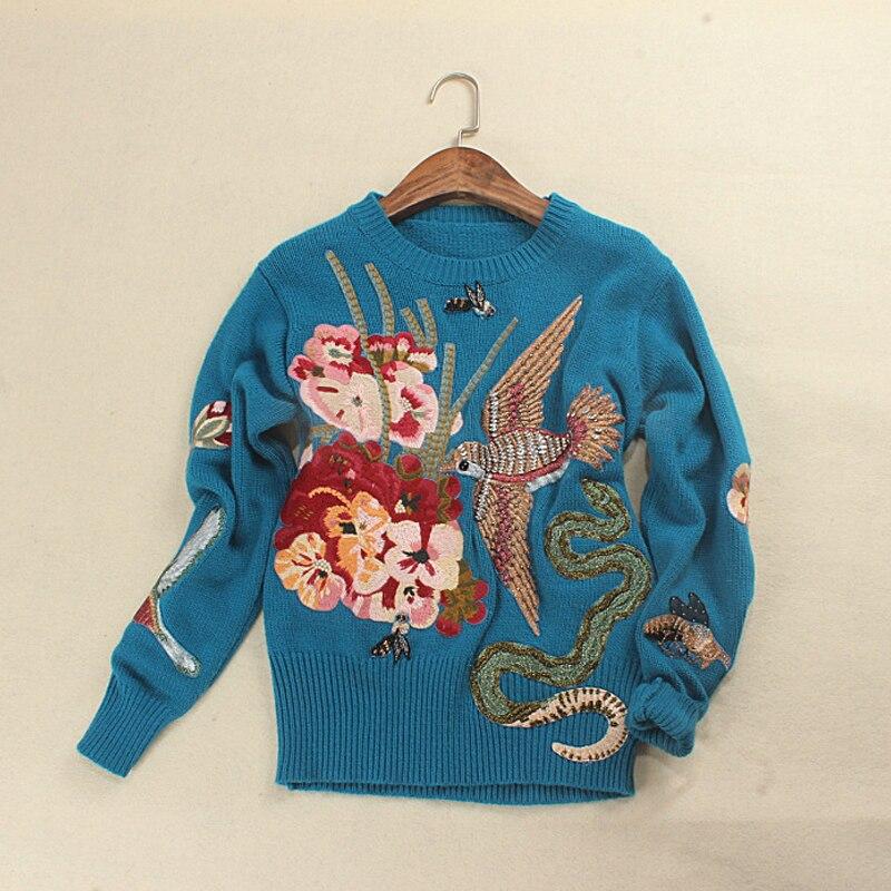Подиумная дизайнерская женская синяя птица вышивка свитер Пуловеры 2019 зима Рождество роскошный бренд Бисероплетение вязаный джемпер одежда