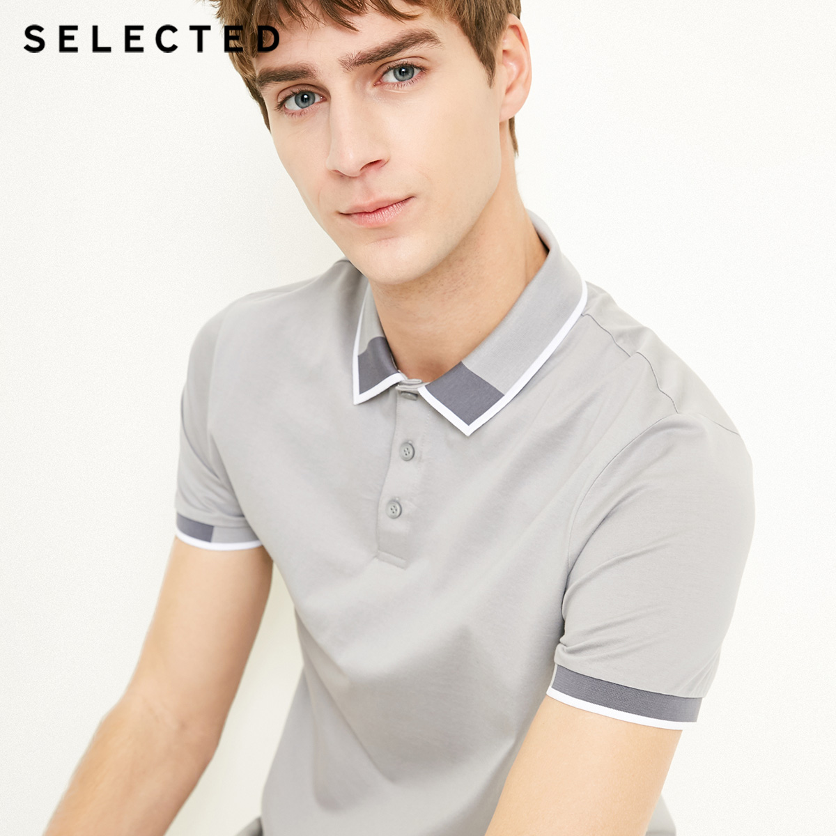 Image 4 - SELECTED  Mens Cotton Color Splicing Leisure  Collar Poloshit S41823Z523T-Shirts