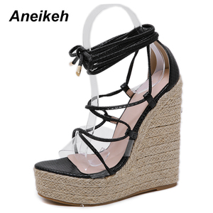 Image 2 - Aneikeh Leisure PVC Sandal Women Transparent Sandals Lace Up Wedges High Heels Thin Belt Solid Black Gold Party Daily Size 35 42