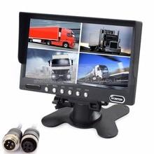 DIYSECUR 4PIN DC12V-24V 7 Inch 4 Split Quad LCD Screen Display Rear View Video Security Monitor for Car Truck Bus CCTV Camera