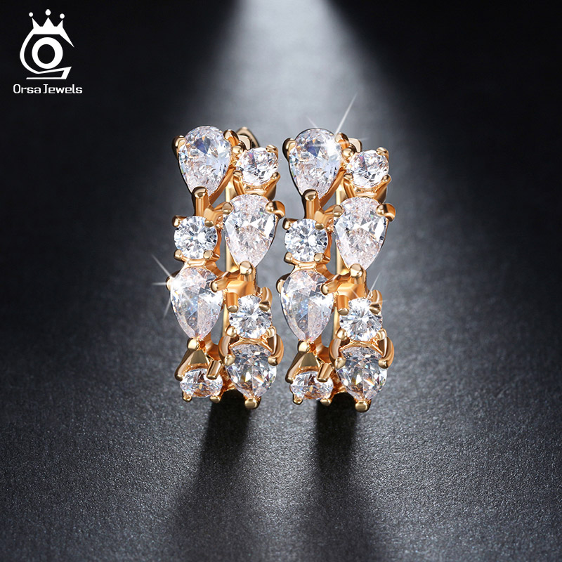 ORSA JEWELS Luxury 4 Pieces 0.3ct Charming Clear Cubic Zirconia Stud Earrings Gold-Color for Party Fashion Women Jewelry OME18
