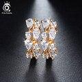 Orsa jewels encantador de luxo 4 peças 0.3ct limpar cubic zirconia brincos banhado a ouro para o partido moda feminina jóias ome18
