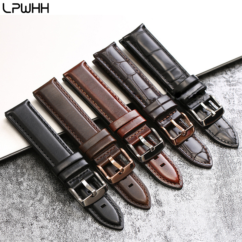 LPWHH Crocodile Genuine Leather Watch band Strap 12mm 13mm 14mm 17 18 19 20mm Pin Buckle Soft Alligator Watchband 18mm