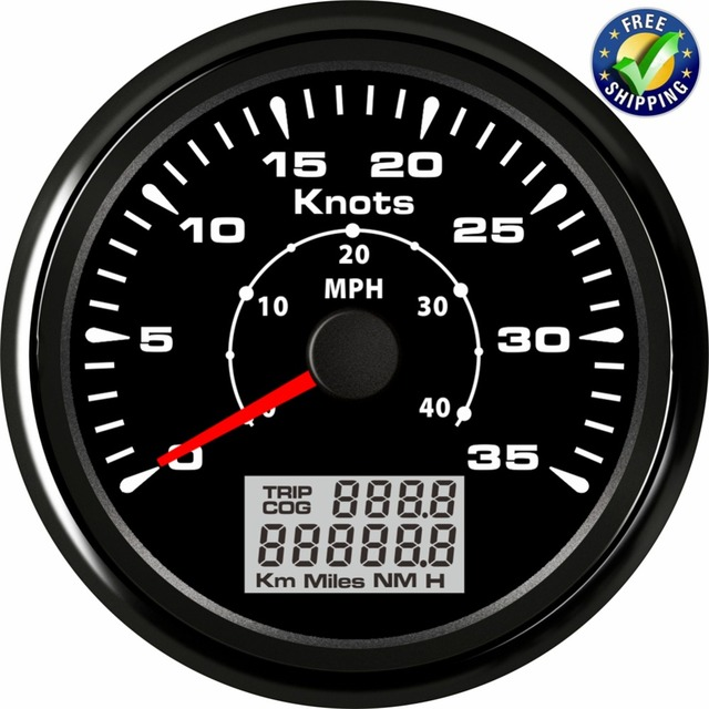 Pack of 1 Marine GPS Speedometers 0-35knots 85mm Speed Odometers 0-40MPH LCD Display with GPS Antenna for Boat Vessel Yacht