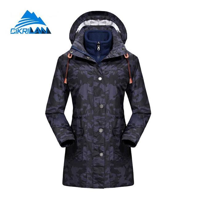 9524facb0f 3in1 Long Womens Camo Winter Sport Hiking Camping Outdoor Windproof Waterproof  Jacket Women Snowboard Ski Coat