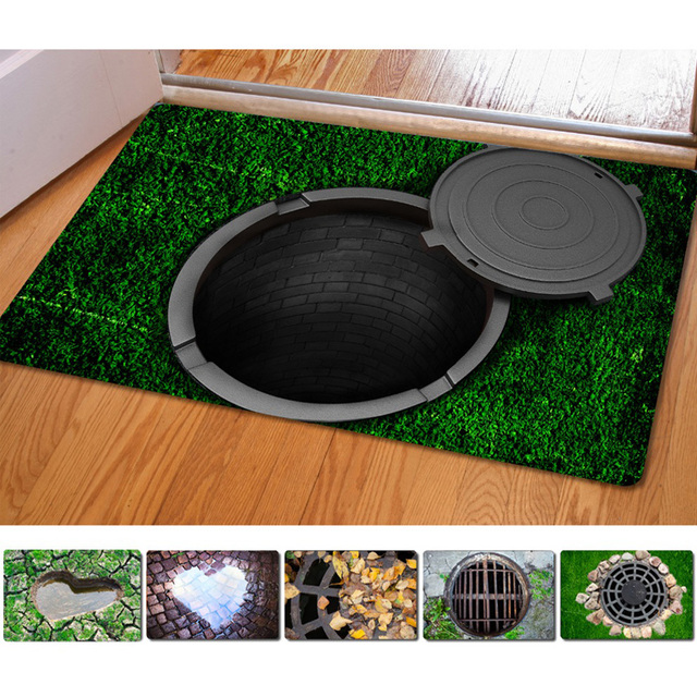 40*60cm Entrance Doormats Funny Rubber Door Mat,Fashion 3D Trap Printed  Carpet For