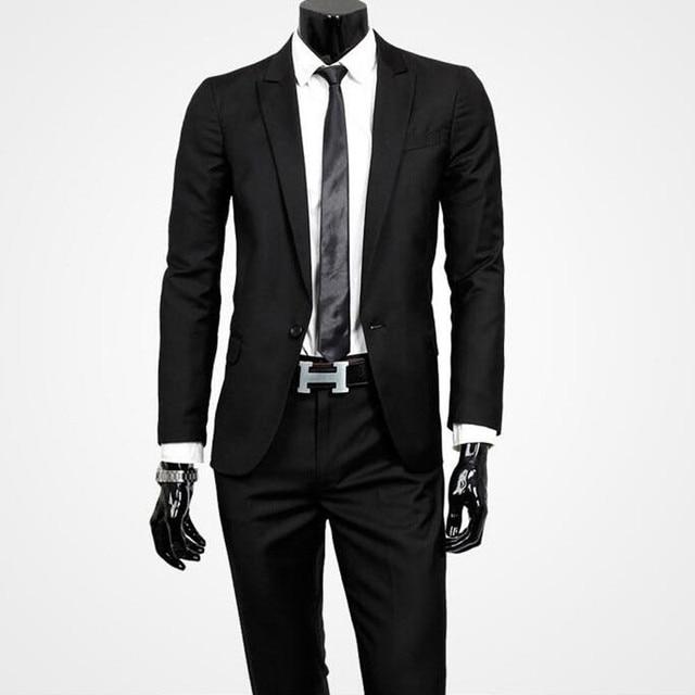 XXXL (куртки + брюки) 2017 мода мужчина тонкий высококачественный хлопок деловой костюм/Мужской черный жених платье официально БЛЕЙЗЕРЫ/Костюм из двух частей