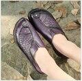 2017 Весна Осень новый ручной коровьей обувь мода повседневная плоские туфли мягкой подошве мать обувь размер 35-41