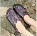 2017 Primavera Otoño nuevo hecho a mano de piel de vaca zapatos de moda casual zapatos planos de suela blanda madre zapatos tamaño 35-41