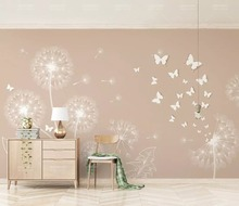 beibehang Modern simple fashion personality wallpaper dandelion butterfly yellow TV background wall papel de parede 3d