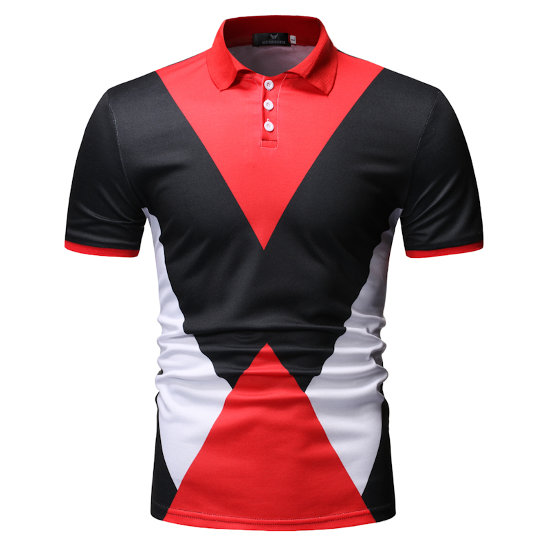 New Men's   Polo   Shirt Summer Business Casual Contrast Color Top Classic Contrast Color Printed Classic   Polo   Shirt