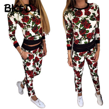 Casual Long Sleeve Sets Floral Tracksuit Fashion Sweat Suits Women Outfit