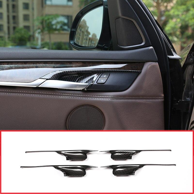 Carbon Fiber Style Interior Door Handle Bowl Cover Trim Decoration For BMW X5 F15 X6 F16 2014-2018 Auto Parts 4pcs/setCarbon Fiber Style Interior Door Handle Bowl Cover Trim Decoration For BMW X5 F15 X6 F16 2014-2018 Auto Parts 4pcs/set