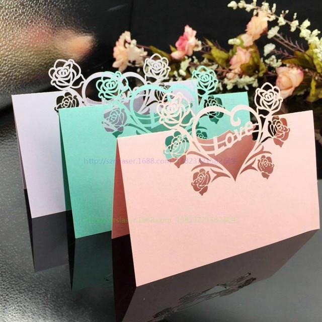 100pcs Laser Cut Wedding Name Place Card Paper Vine Seat Cards Baby