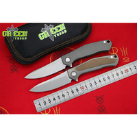 GREEN THORN CARD Original M390 Blade Titanium Handle Flipper Folding Knife Outdoor Camping EDC Tool Hunting