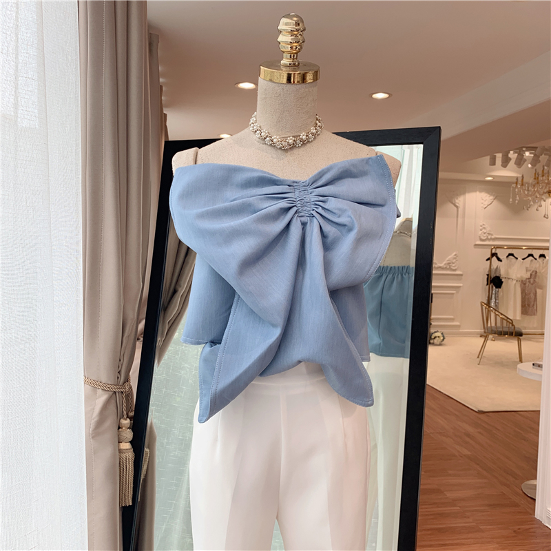 HIGH QUALITY Newest Fashion 2019 Designer Blouse Women s Spaghetti Strap Big Bow Tops