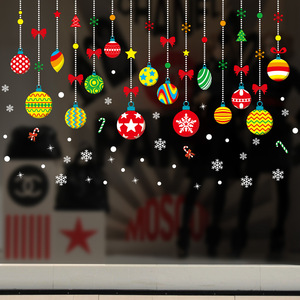 2019  Merry Christmas Window Glass Stickers Shop Store Wall Stickers Windows Christmas Decorations Ornaments