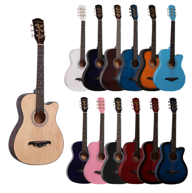 38 inch Acoustic Guitar for Beginners Folk Guitar 6 Strings Basswood Guitar 13 Colors High Quality Music Instruments AGT16 high quality 38 acoustic guitar 38 18 high quality guitarra musical instruments with guitar strings