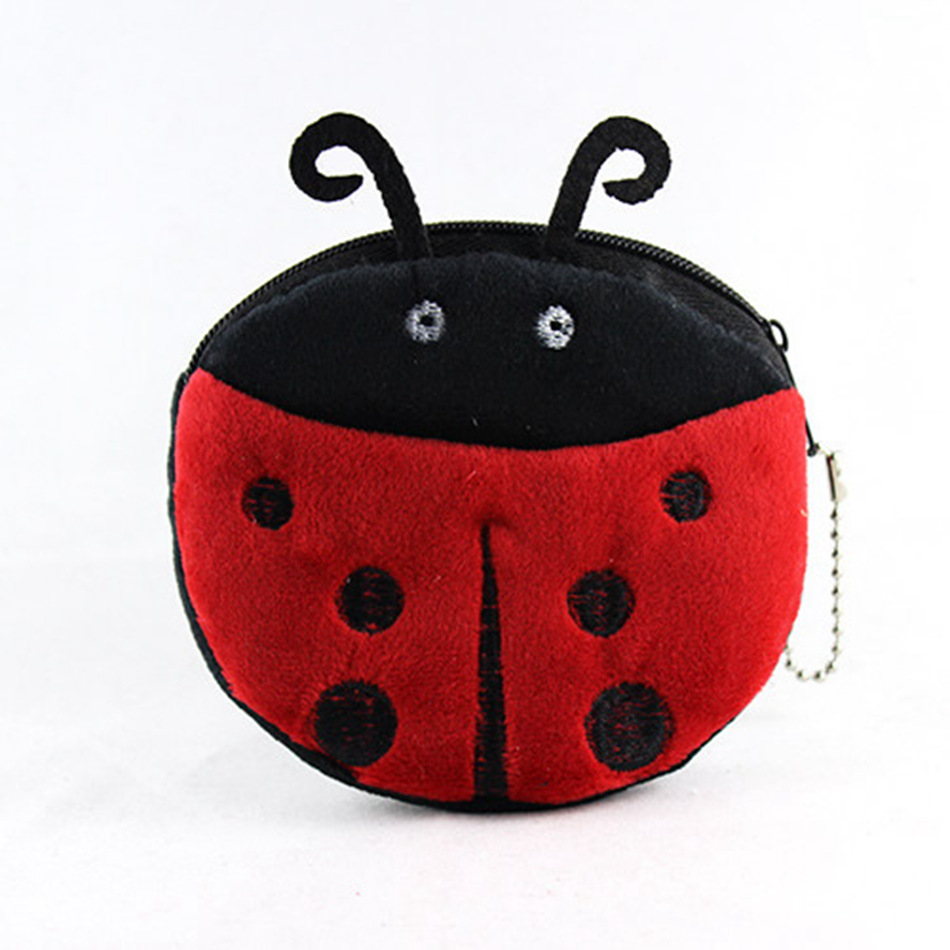 Kawaii Cartoon Animal Beetles Coin Purse Children Plush Purse Bag Zipper Change Purse Wallet Kids Girl Women For Gift new 2016 cartoon cute minions dave bob plush coin change purse zipper mini children bag women wallets girl for christmas gift