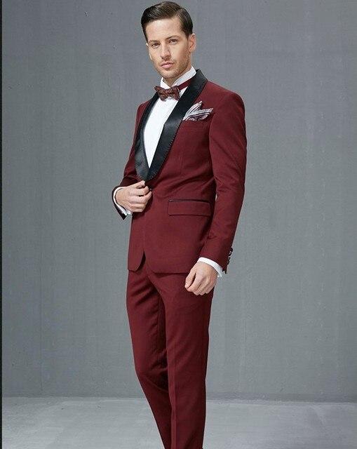 a0ec1a7e422f11 Side Vent Groomsmen Shawl Satin Lapel Groom Tuxedos Burgundy/Wine Men Suits  Wedding Best Man