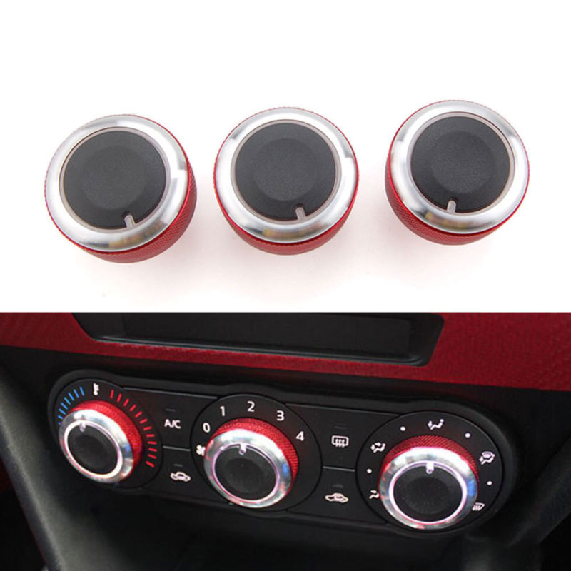 For 2014 Mazda 3 Axela 3Pcs Car Heat Control Air Conditioning A/C Knobs Switch Button Cover Trim Ring Car Interior Decal for mazda 3 axela hatchback sedan 2014 2015 2016 abs high quality air conditioning ac control switch cd panel cover trim 1 pcs